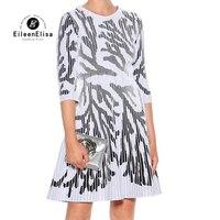 Роскошные Для женщин платья мода 2018 Высокая талия Половина рукава платья трапециевидной формы взлетно посадочной полосы летнее платье