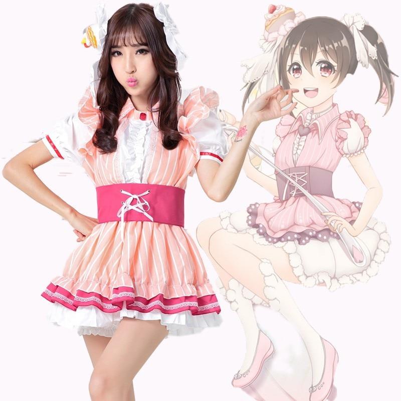 Kawaii love live ze nicole rabbits 코스프레 의상 소녀를위한 로리타 공주 드레스 귀여운 파티 드레스 vestido-에서드레스부터 여성 의류 의  그룹 1
