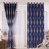 WLIARLEO Blackout Printed Curtains Europe Blue Floral Cloth Curtain Window curtain For Living Room,Bedroom Decor Roman Drapes