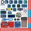 Стартовый комплект для Arduino с платой разработки Rich UNO R3 Atmega328P, модуль датчика для Arduino с экраном IO, MP3 DS1307, RTC, датчик температуры