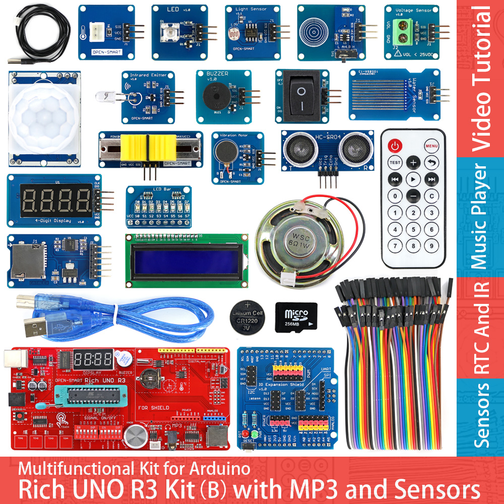 Rich UNO R3 Atmega328P Development Board Sensor Module Starter Kit for Arduino with IO Shield MP3 DS1307 RTC Temperature Sensor atmega328p mcu development board compatible with uno r3 io expansion shield sensors pack uno plus package a