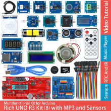 Rich UNO R3 Atmega328P Development Board Sensor Module Kit for Arduino with IO Shield MP3 /DS1307 RTC /Temperature /Touch Sensor цена