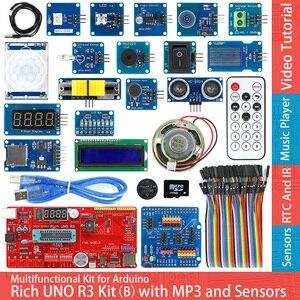 Image 1 - Rich UNO R3 Atmega328P Development Board Sensor Module Starter Kit for Arduino with IO Shield MP3 DS1307 RTC Temperature Sensor