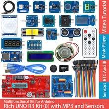 עשיר UNO R3 Atmega328P פיתוח לוח חיישן מודול ערכת המתחילים Arduino עם IO חומת MP3 DS1307 RTC טמפרטורת חיישן