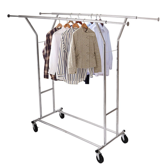 Portable Double Bar Steel Clothes Hanger Stand Trolley Type Drying Rack Moveable Clothing