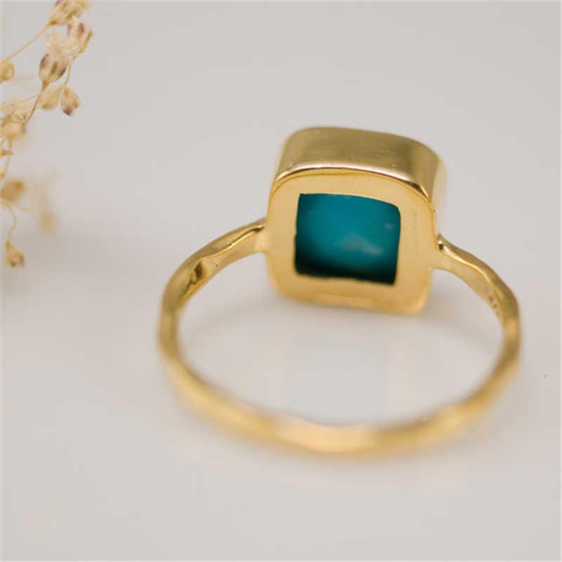 Moda Geométrica Quadrado Azul Turquoises Anel de Pedra Jóias Boho Praia Pequena Cor de Ouro Simples Anel Meninas Partido Anel L5X752