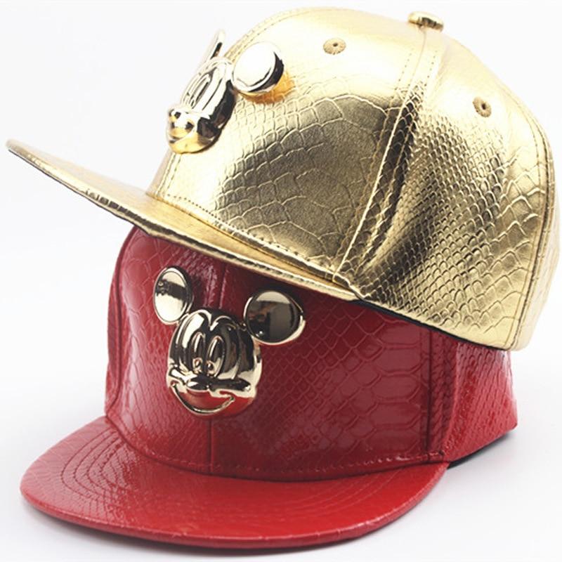Prix pour Nouveau Automne Hiver Enfants En Cuir Casquette de baseball Enfants de Bande Dessinée Snapback Caps Gorras Planas Hip Hop Chapeau Noir Rouge Or Argent 2374