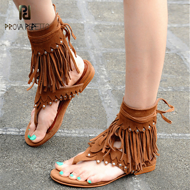 Prova Perfetto Newest Summer Women Sandals Flats With Tassels Casual Shoes Woman Flip Flop Slipper Ankle Lace Up Solid Sandal hahaflower summer women slippers flower slipper beach thong slipper mules clogs garden shoes woman flats jelly sandals flip flop