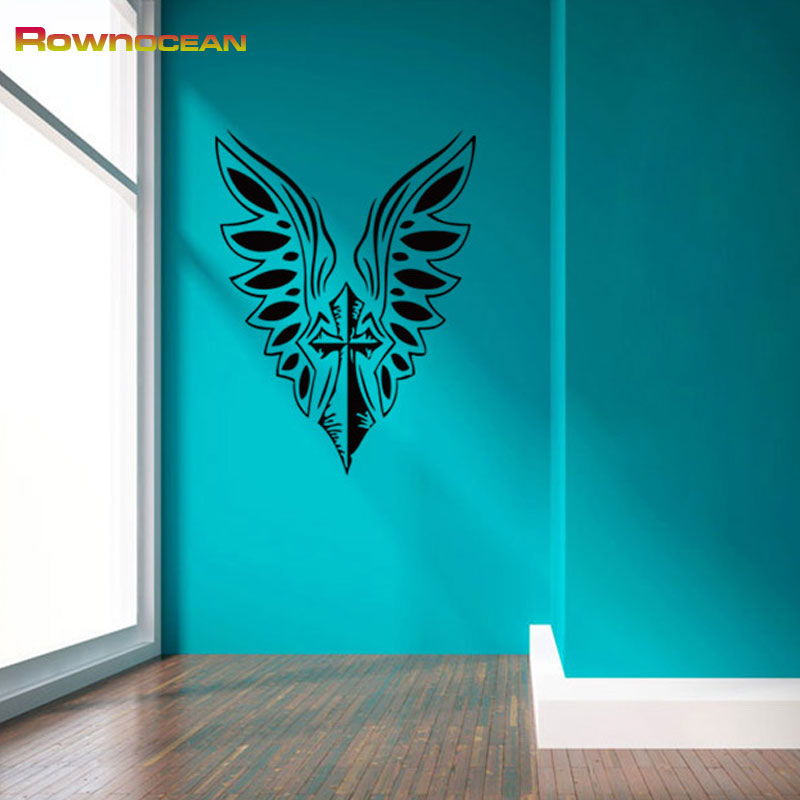 Buy Rownocean Brand Christian Cross Wing Wall Stickers Home Decor Living Room