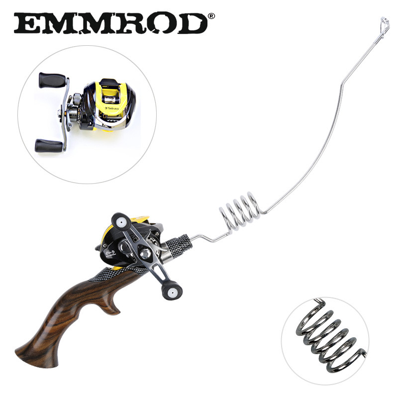 EMMROD Bait Casting Rod 55cm Ebony Handle High Quality Fishing Rod Boat Lure Rod Portable Fish Gear Rock Ice Telescopic FQ-WD