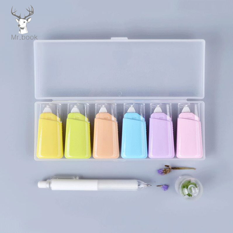 6pcs Set Mini Macaron Color White Correction Correcting Tape With Box Stationery Corrector Student Gifts School Office Supplies