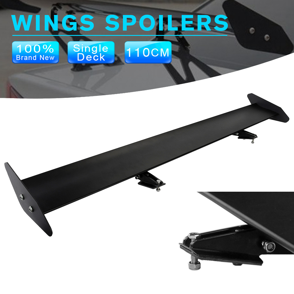 43.3 Black Auto Car Hatchback Spoiler Universal GT Rear Trunk Wing Racing Spoilers Adjustable Aluminum hb universal high quality lightweight aluminum double deck gt spoiler rear spoiler wing racing black for auto car