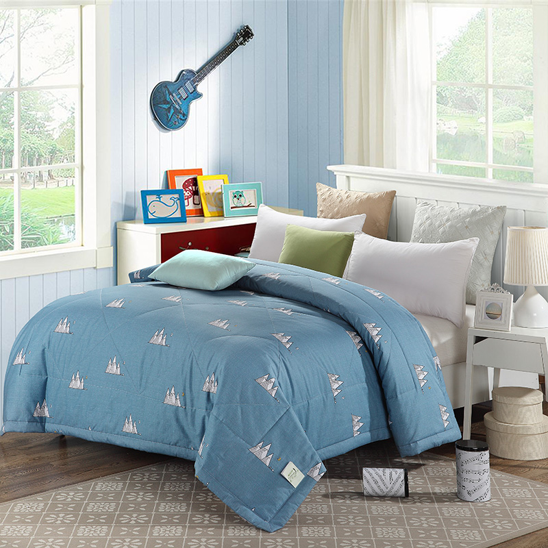 Fashion Cotton Home Textiles White Simple Small Pattern Fabric Summer Quilt Air Conditioning Thin Duvets Print Comforter In Quilts From Garden