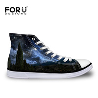 FORUDESIGNS Galaxy Pattern Women High Top Vulcanize Shoes 3D Space Star Lace Up Leisure Canvas Shoes