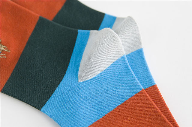 PIER POLO new men's fashion sock spring and autumn section breathable stripes color matching socks men's deodorant cotton socks
