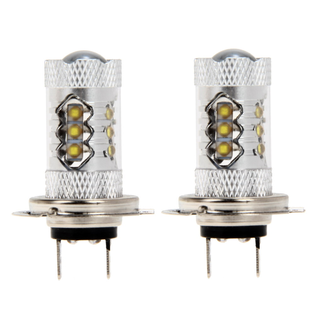 2 x H7 80W LED Fog Tail Driving Car Head Light Lamp Bulb White Bright High power Car Lights Lamps  Car styling High Quality 2x h3 9 led smd car auto xenon white fog driving head light lamp bulb 6500k car styling lights lamp automoblies