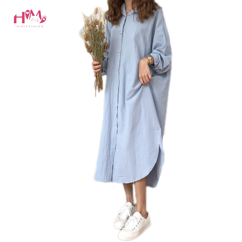 New Fashiongs Women Oversize Loose Shirt Dress Korean Turn Down Collar Long Sleeve Dress Casual Single Breasted Midi Party Dress