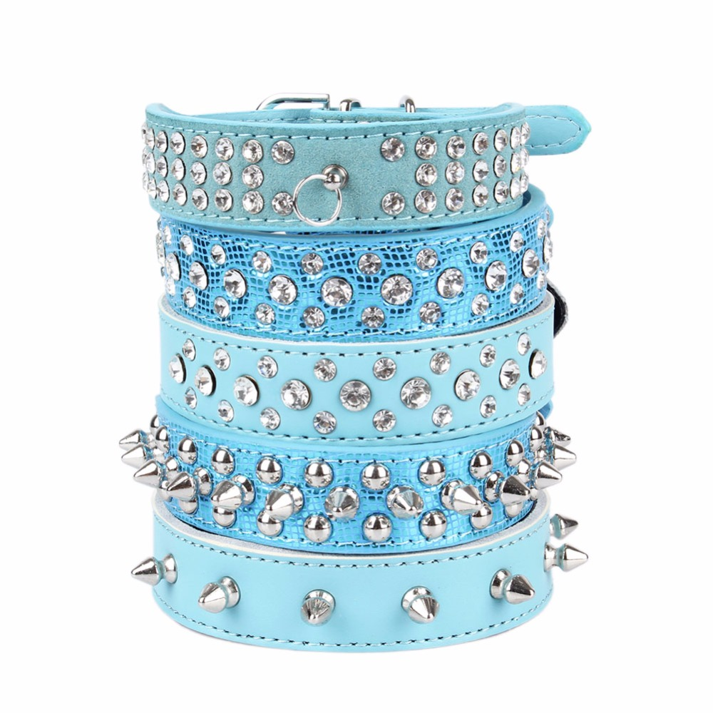 Blue Small Large Dogs Collars Cat Rivet Spiked Rhinestone For Puppy Big Dog Pet Product Collar Necklace greyhound Strap chien