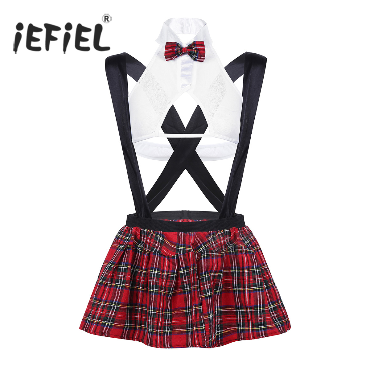 3Pcs Women School Girl Cosplay Sexy Costumes Lingerie Outfit Sheer Mesh Top Shirt with Suspender Plaid Mini Skirt and G-string