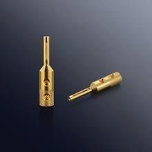 をビボルオーディオ高品質 4 ピース VB401G 純銅金メッキスピーカーケーブルバナナプラグケーブル