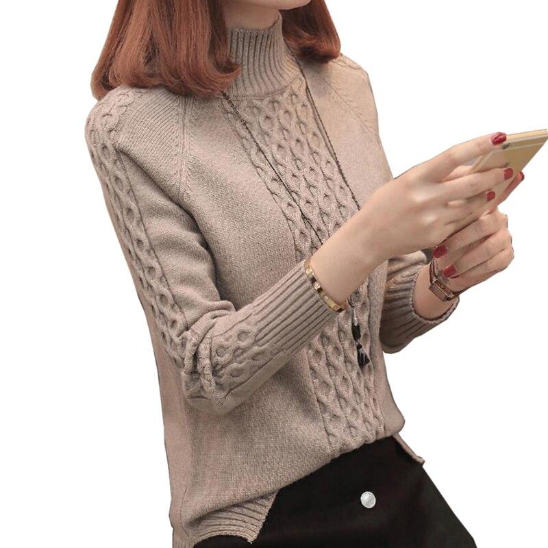 Вязаные и пуловеры, женский свитер, Осень зима 2018, повседневная Водолазка с длинным рукавом, крест накрест, полосатый свободный женский свит