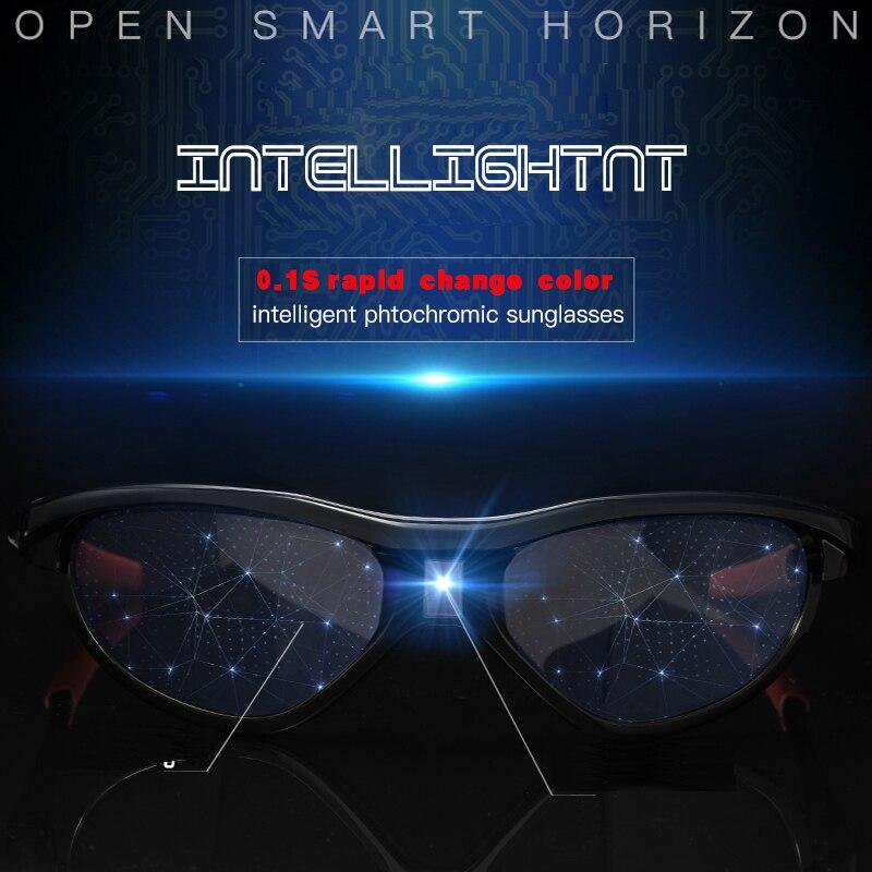 Hi-tech lunettes de soleil photochromiques changement de couleur polarisées lcd transition lentille UV hommes caméléon nuances myopie décoloration lunettes - 3
