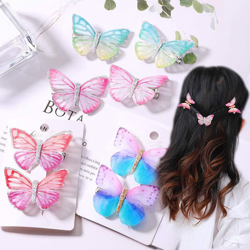 Seaside Colorful Graceful Crystal Dream Butterfly Girls Wedding Girls Candy Color Cartoon Hairpin Hair Clips 2PCS 9 Colors