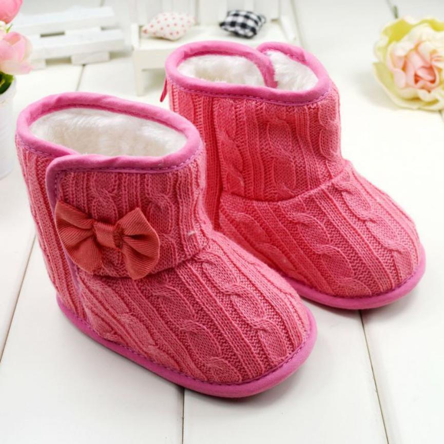 2017 Weihnachten Weihnachten Kleinkind-säuglingsbabys Casual Garn Stiefel Kinder Stricken Baumwolle Bowknot Weiche Alleinige Schuhe Chaussure Enfant #20