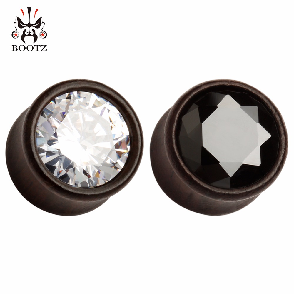 2016 new pair selling fashion wood crystal plugs tunnel piercing flesh ear gauges body jewelry