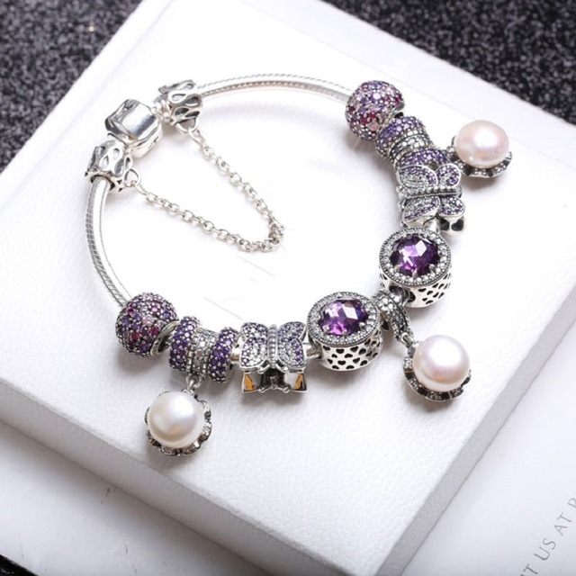 Elegant Pearl Bracelet Pandora Jewelry 925 Sterling Silver Purple European Pave Ball Radiant Hearts Charm Beads