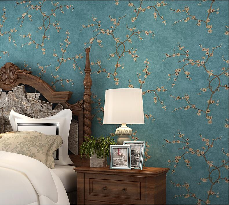 American Country Papel De Parede 3D Wallpaper For Living Room Walls Bedding Room Sofa Blue Flower Wall Paper In Rolls Home Decor large mural papel de parede european nostalgia abstract flower and bird wallpaper living room sofa tv wall bedroom 3d wallpaper