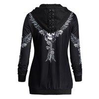 Autumn Womens Skull Wings Print Halloween Zip Up Hoodie Long Sleeve Spring Sweatshirts Coat Cool Hoodies Mujer