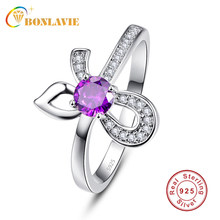 BONLAVIE Lovely Ladies Cocktail Ring Round Stone Micro Pave Zircon Bowknot 925 Silver Ring for Women Lover's Silver Ring Gift(China)