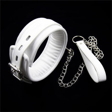 Sexy White Pu Leather Sex Collar And Leash Sex Toys For Couple Bondage Games,Fetish Slave Collar Sex Products Sex Toys Women Men