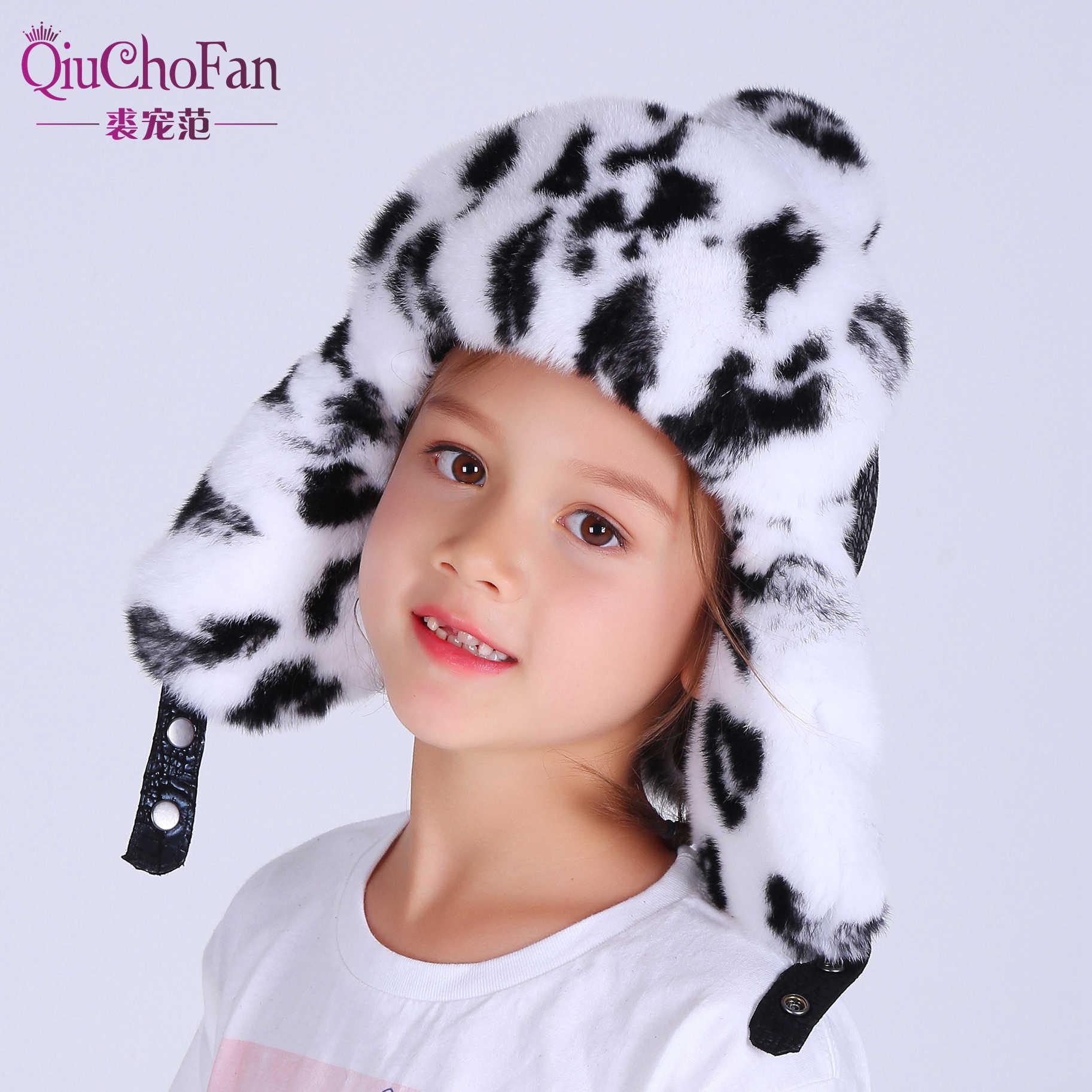 Musim Dingin Rusia Bulu Topi Anak Topi Hangat Lembut Real Rex Kelinci Bulu Anak Laki-laki Gadis Earmuffs Lei Feng Bayi Lucu Bulu bomber Hat Cap