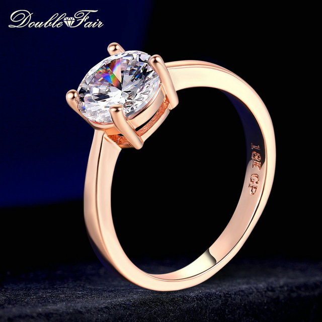 Double Fair Top Quality Round AAA+ Cubic Zirconia Rose/White Gold Color Fashion