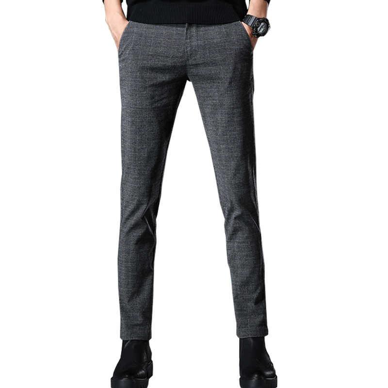 VOMINT 2019, новинка, высокое качество, мужские эластичные повседневные брюки, мужская деловая одежда, облегающие, для бега, тянущиеся, длинные брюки, мужской костюм, брюки
