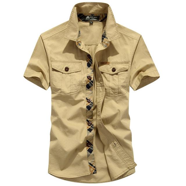2016 Nova Plus Size Secagem Rápida Casual Man 100% Puro Verde Do Exército de algodão Confortável Roupas de Marca Camisas Masculinas AFS JEEP UMA110
