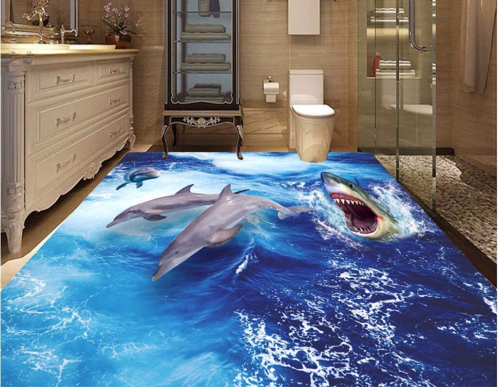 Custom photo 3d pvc flooring self adhesion wall paper sticker waves of the dolphins bedroom painting wallpaper for walls 3 d 3 d pvc flooring custom photo self adhesive material wall sticker 3 d great falls nature painting room wallpaper for walls 3d