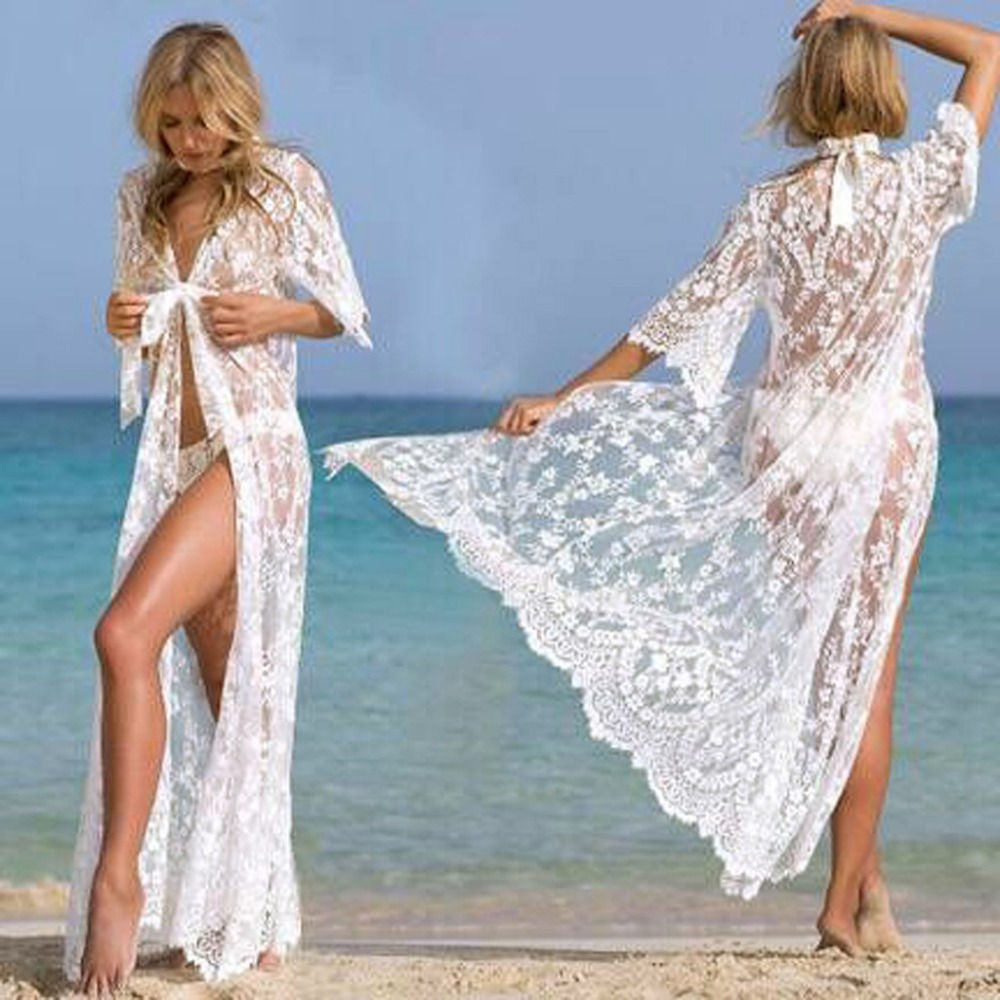 Blouses & Shirts Glorious 2019 Womens Summer Blouses Long Kimono Cardigan Sexy Lace Bikini Cover Up Beach Sunscreen Blouse Blusas Mujer De Moda To Have A Unique National Style