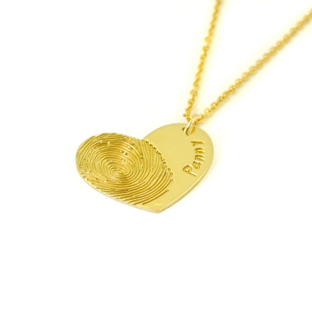 68ad6a16d2a0 Huella digital real collar del corazón huella collar regalo para ella  Memorial joyería nombre collar