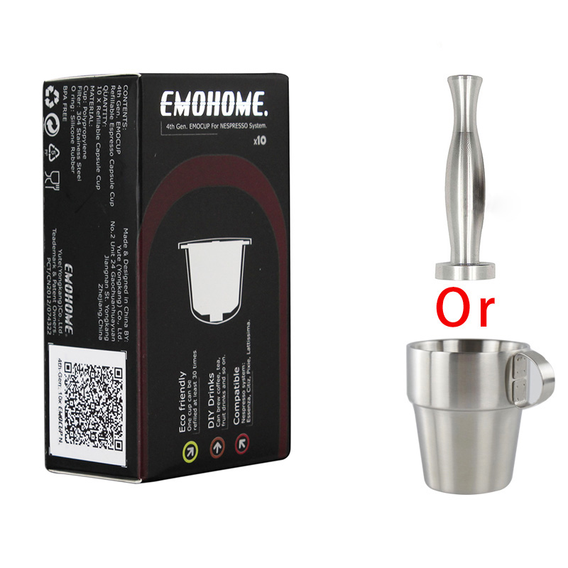 EM 04T Espresso Reusable Coffee Capsule Refillable Capsule Compatible with nespresso System + capsule coffee tamper/ coffee cup