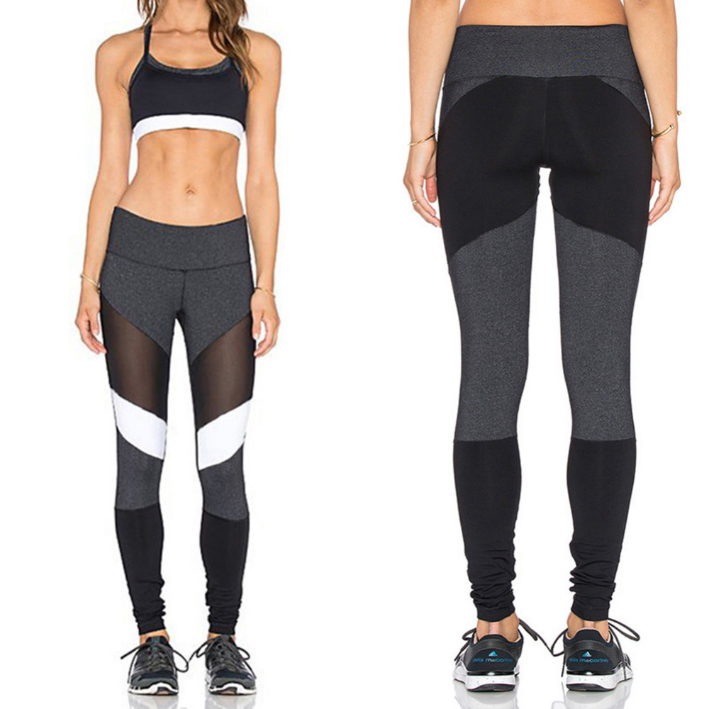 Net Yarn Stitching Yoga Pants Sports Leggings Exercise Tights Fitness Running Jogging Trousers Gym Slim Compression Pants