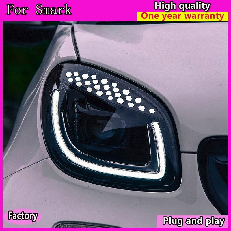 Kowell автомобильный Стайлинг фара для умных фар 2015 2018 Смарт для двух светодиодный ных светодиодные дневные ходовые огни на передних фарах Hid Bi