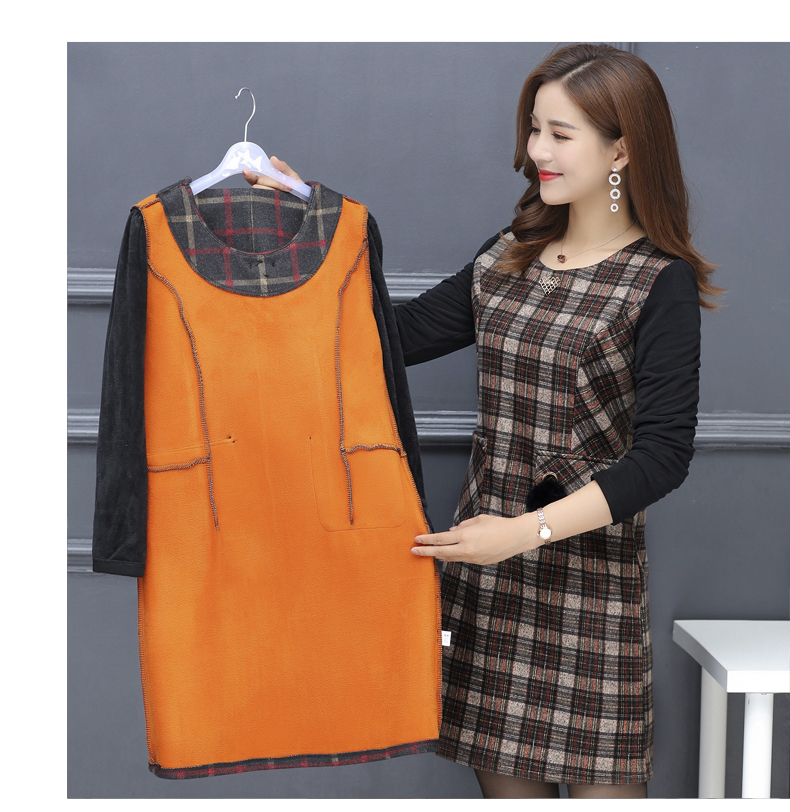 Winter Woman Elegant Tweed Dress Red Yellow Plaid Pattern Blends Robe Femme Thicken Fleece Dresses Woman Warm Shift Dress Office Outfits (17)