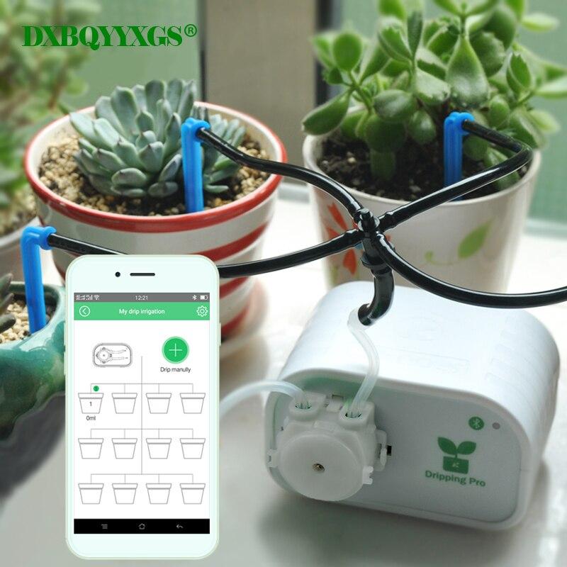 Mobile téléphone contrôle Intelligent jardin automatique dispositif d'arrosage des plantes succulentes irrigation Goutte À Goutte outil pompe à eau minuterie système