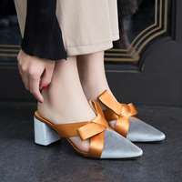 2018 New Summer New Pointed Flat Women Sandals Big Bow Half Dragged Wearing ZA Straw Miller Shoes Woman Sandals High Heels women