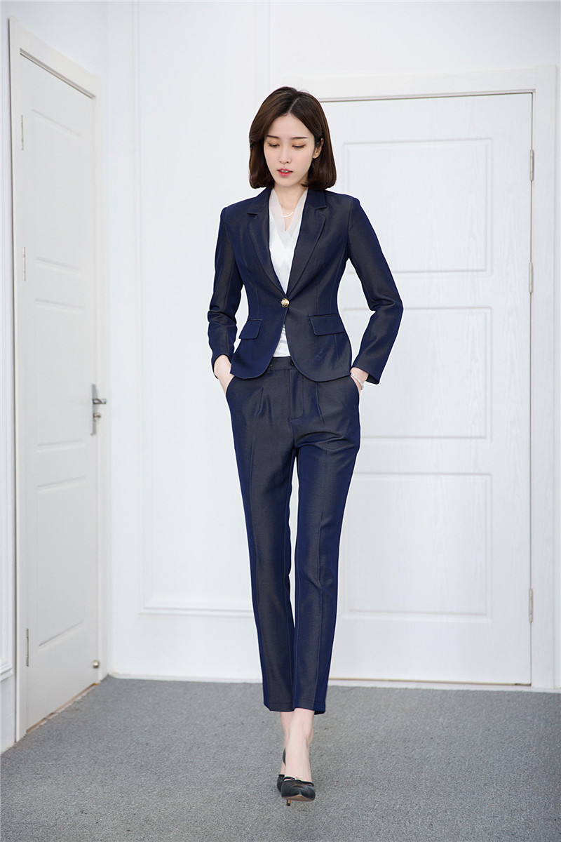 Formal Uniform Designs Pantsuits With Pants And Jackets For Ladies Women Pants Sets 2018 Fashion Casual High Quality Fabric