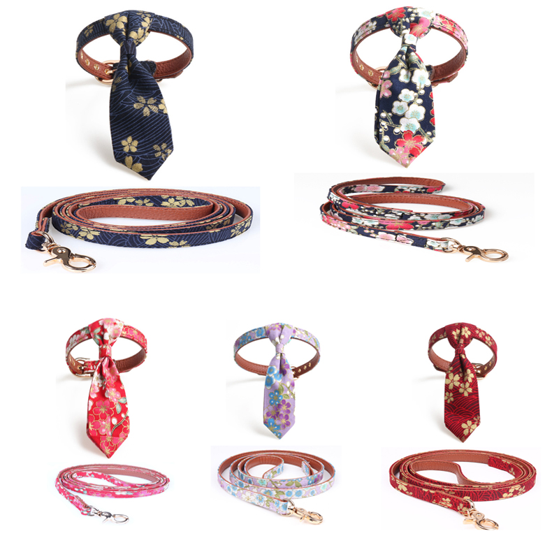 Pet Cat Dog Collar Leash Bow Tie Detachable Cherry for Chihuahua Pug Small Pet