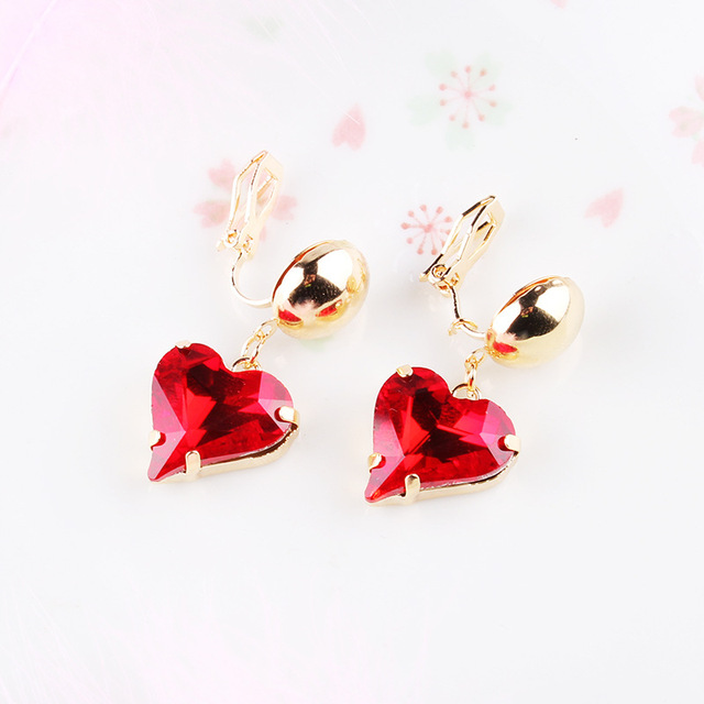 Kovtia 2018 New Design Austrian Crystal Heart Clip On Earrings Without Piercing Charm Women Red Stone